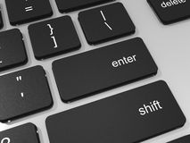 Enter key on keyboard of laptop computer. Stock Image