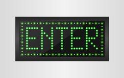 Enter light sign background Stock Photos