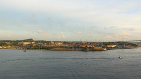 Enter into the port of Curacao, Willemstad stock video footage