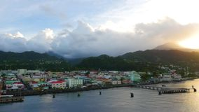 Enter into the port of the island Dominica stock video footage