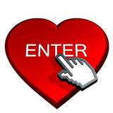 Enter red heart. Hand select enter in a red heart Royalty Free Stock Photography