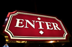Enter sign. Fancy lighted exit only sign in Las Vegas Stock Photos