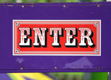Enter sign. Close up of an enter sign on a carnival ride Royalty Free Stock Images