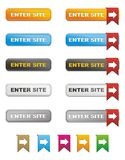 Enter site button with ribbon Royalty Free Stock Photography