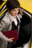 Business Woman Travels Downtown Via Taxi Cab Stock Photography
