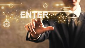 Enter text with businessman Royalty Free Stock Photo