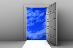 Enter to heaven. Open door from empty space to heaven Royalty Free Stock Image