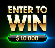 Enter To Win banner. Background for lottery or casino games such as poker, roulette, slot machines or card games Royalty Free Stock Photos
