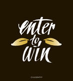 Enter to win. Giveaway banner for social media contests and promotions. Vector brush hand lettering on black background. Royalty Free Stock Photo