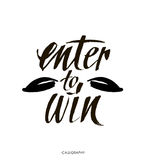 Enter to win. Giveaway banner for social media contests and promotions. Vector brush hand lettering on white background. Royalty Free Stock Image