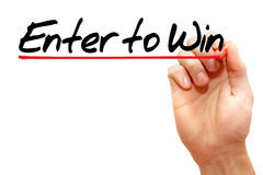 Enter to Win. Hand writing Enter to Win with marker, business concept Stock Photos
