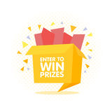 Enter to win prizes gift box. Cartoon origami style  illustration Stock Images