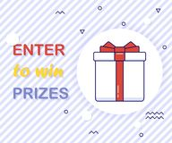 Enter to win prizes gift box. Cartoon style vector illustration royalty free illustration