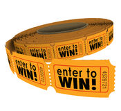 Enter to Win Raffle Ticket Roll Fundraiser Charity Lottery Luck. Enter to Win words on a roll of orange raffle or lotter tickets as a fundraiser for charity or royalty free illustration