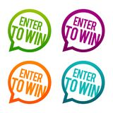 Enter to win round Buttons. Circle Eps10 Vector. Click enter for a big win Stock Photo