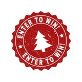 ENTER TO WIN! Scratched Stamp Seal with Fir-Tree royalty free illustration