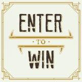 Enter to Win Vector Sign. EPS 10 Stock Photos