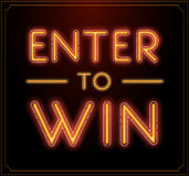 Enter to Win Vector Sign, Win Prize, Win in Lottery Royalty Free Stock Photos