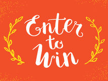 Enter to Win Vector Sign, Win Prize, Win in Lottery Stock Photography