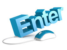 Enter word with blue mouse Royalty Free Stock Photography