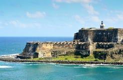 Enterance till San Juan Harbor Arkivbilder