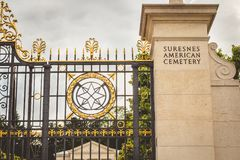 Entered the American military cemetery of Suresnes Stock Image