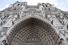 Entering Amiens Cathedral Main Portal. Stock Images