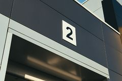 Entering the car garage with the number Royalty Free Stock Photography