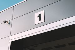 Entering the car garage with the number Royalty Free Stock Images