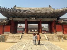 Before entering the central area of Changgyeonggung Palace stock photography