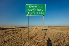 Entering Central Time Zone - Roadsign royalty free stock photo