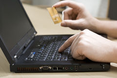 Entering credit card information Stock Images