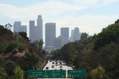 Entering Downtown Los Angeles #1. Highway leading into Downtown Los Angeles as seen above the 110 south freeway Royalty Free Stock Images