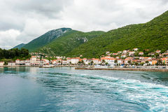 Entering by ferry in a small town Trpanj in southern Dalmatia Stock Photos