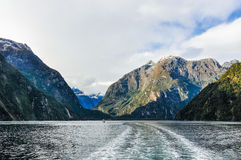 Entering the fiord in the Milford Sound, New Zealand Royalty Free Stock Photo