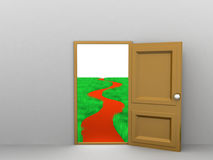 Entering Freedom. 3d image of entrance which leads to grass landscape with road Stock Photos