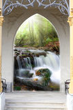 Entering the gate and waterfall Royalty Free Stock Photography