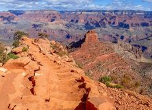 Entering the Grand Canyon on the Kaibab Trail. Kaibab Trail Steps Descend into the Grand Canyon Stock Photo