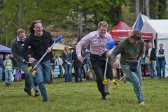 Entering the home stretch. MARYSVILLE, VICTORIA, AUSTRALIA - November 2: A group of men compete for first place in a hobby horse race at the Marysville Sparkling stock image