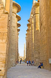 Entering the Hypostyle Hall in Karnak Temple Royalty Free Stock Photo