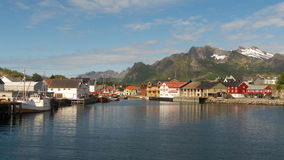 Entering in Kabelvoag in Lofoten. Entering in Kabelvoag harbour, Lofoten islands, Norwegian arctic sea stock photos