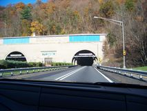 Entering Kittatinny mountain tunnel. On PA turnpike westbound in OCT. 2014 Stock Images