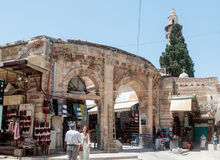 Entering the market Suq Aftimos market in Muristan Street in the old city of Jerusalem, Israel. Jerusalem, Israel, July 14, 2017 : Entering the market Suq Royalty Free Stock Image