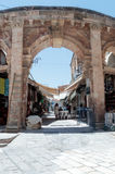 Entering the market Suq Aftimos market in Muristan Street in the old city of Jerusalem, Israel. Jerusalem, Israel, July 14, 2017 : Entering the market Suq Royalty Free Stock Images