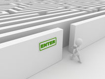 Entering the maze. Computer generated image. 3d render royalty free illustration