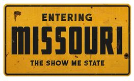 Entering Missouri MO sign grunge metal the show me state. Road street highway vintage look royalty free stock images