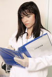 Entering patient info. Rmation, medical history, etc Stock Photography