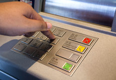 Entering Pin at ATM Machine Royalty Free Stock Photos