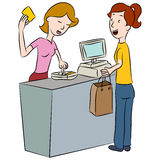 Entering PIN Number. An image of a woman entering her PIN number at a store counter stock illustration