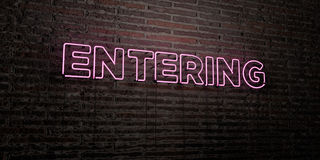 ENTERING -Realistic Neon Sign on Brick Wall background - 3D rendered royalty free stock image Royalty Free Stock Photography